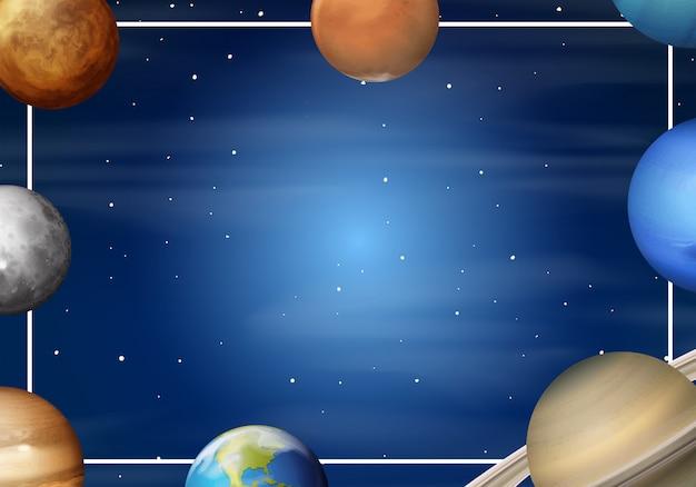 Cadre de dessin animé du système solaire Vecteur gratuit