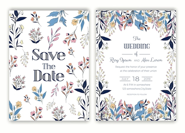 Cadre dessiné main floral pour une invitation de mariage Vecteur Premium