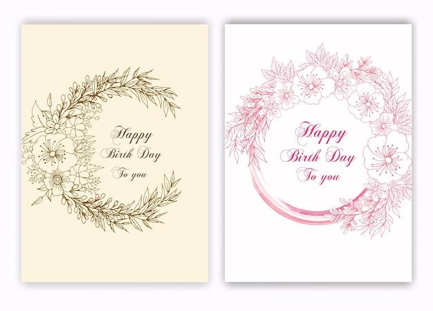 Cadre dessiné main floral pour une invitation de naissance Vecteur Premium