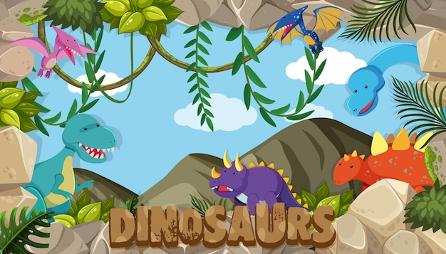 Un cadre de dinosaures Vecteur Premium