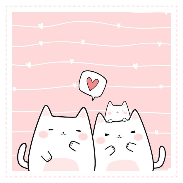 Cadre doodle de dessin animé mignon chat de famille Vecteur Premium