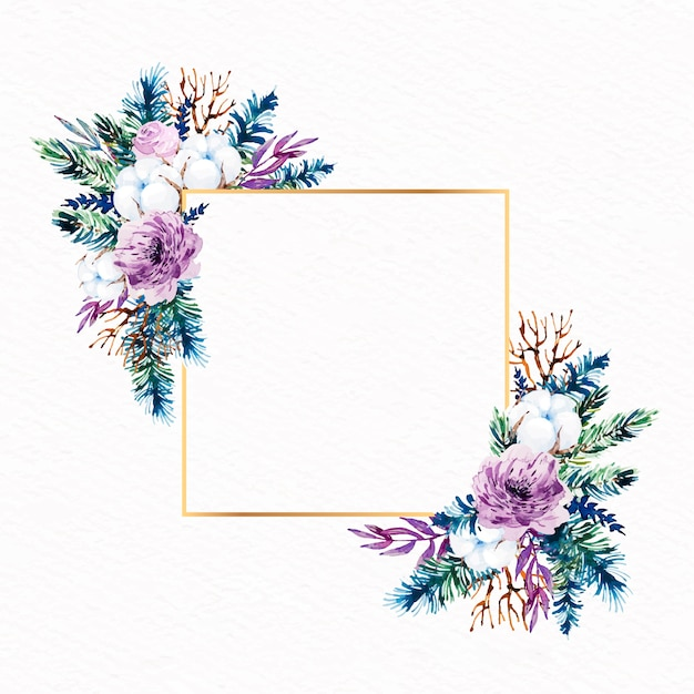 Cadre doré artistique avec des fleurs d'hiver Vecteur gratuit