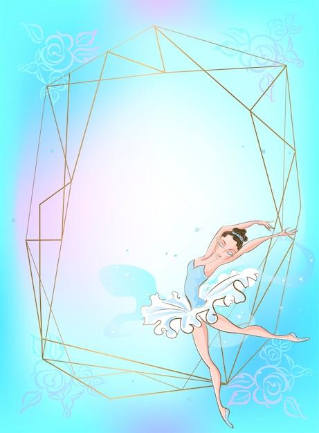 Cadre doré avec une ballerine sur un fond bleu. Vecteur Premium