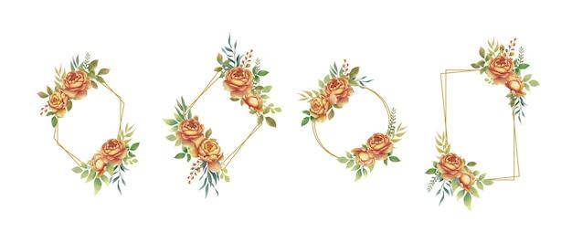 Cadre Doré Avec Bouquet De Fleurs Roses Aquarelle Vecteur Premium