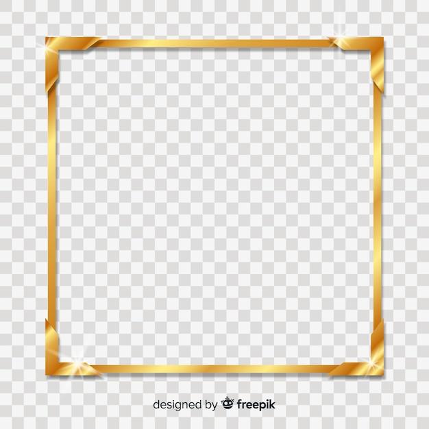 Cadre doré carré Vecteur gratuit
