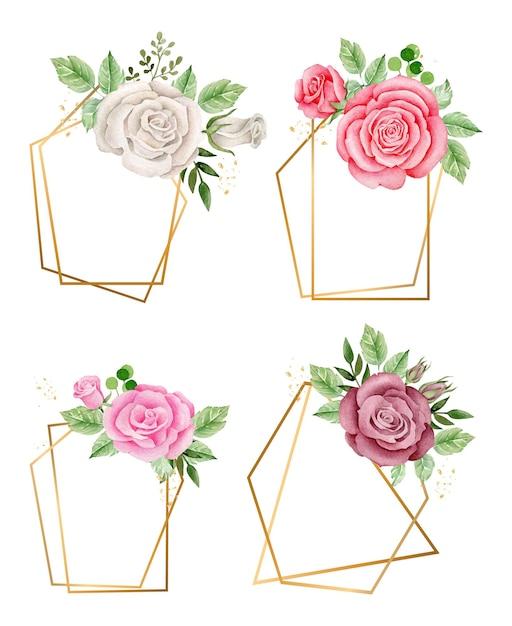 Cadre Doré Avec Composition De Fleurs Aquarelle Cadres Floraux Romantiques Vecteur Premium