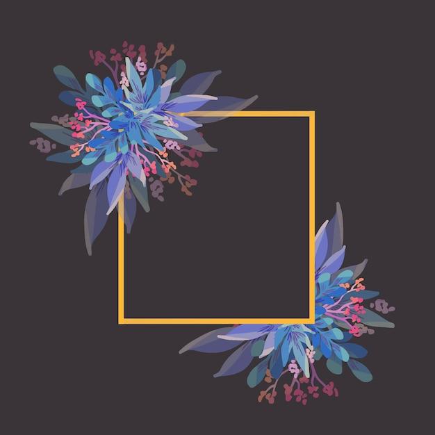 Cadre doré avec des fleurs d'hiver Vecteur gratuit
