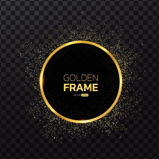 Cadre doré avec fond de paillettes Vecteur Premium