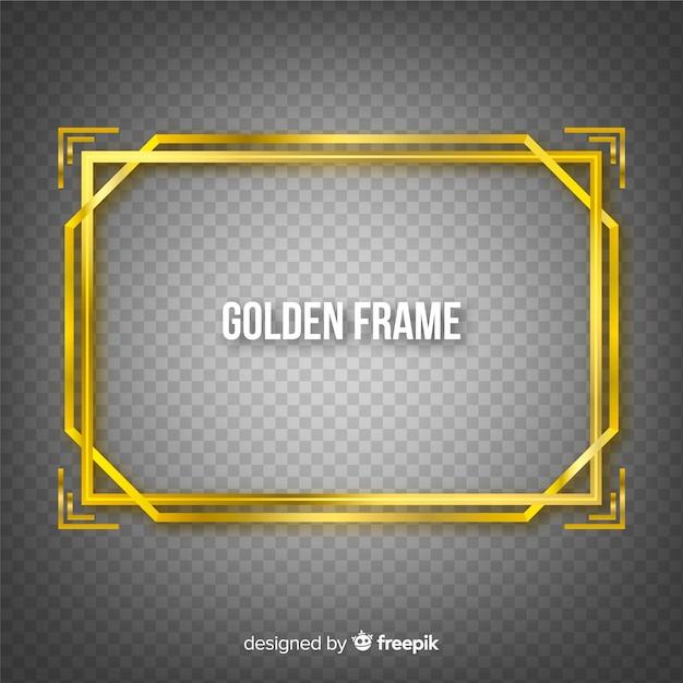 Cadre doré sur fond transparent Vecteur gratuit