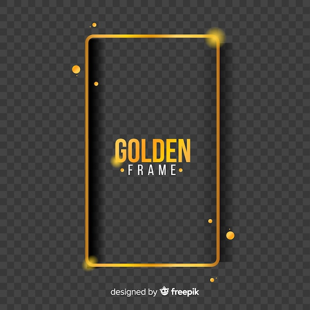 Cadre doré géométrique avec des effets de lumière Vecteur gratuit