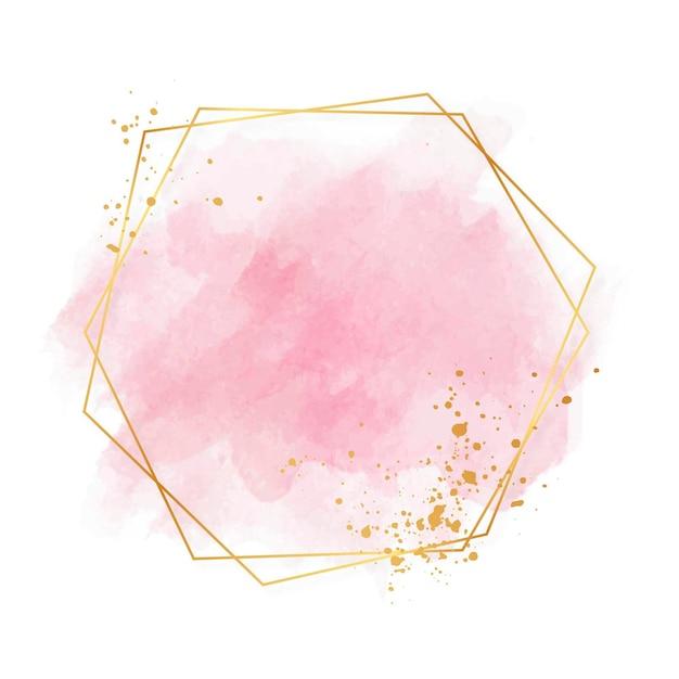 Cadre Doré Rose Pastel De Luxe Vecteur gratuit