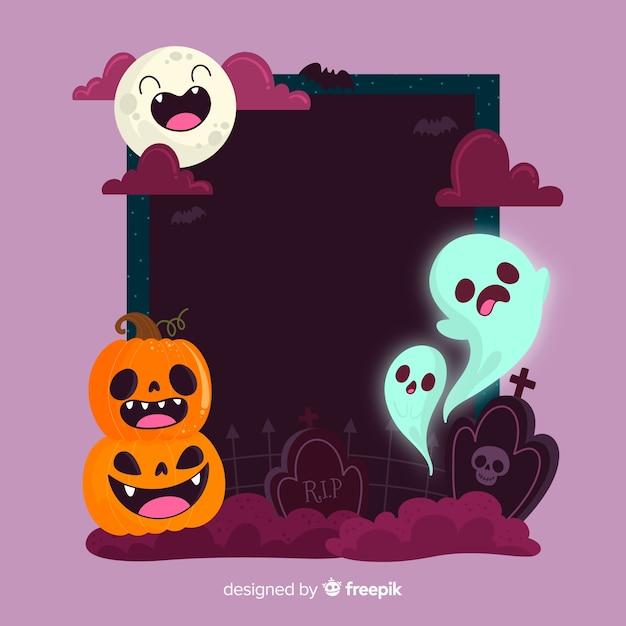 Cadre De Drôles De Visages Avec Des Créatures D'halloween Vecteur gratuit
