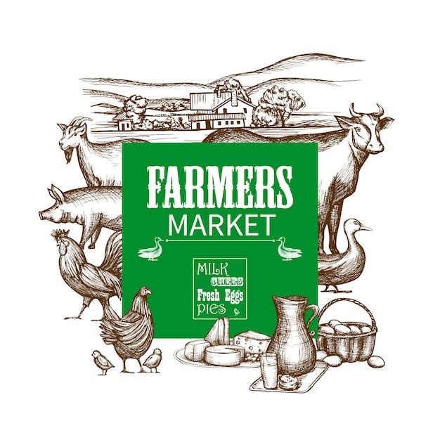 Cadre du marché agricole Vecteur gratuit