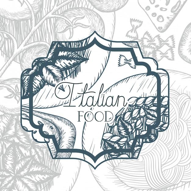 Cadre élégant victorien avec cuisine italienne Vecteur Premium
