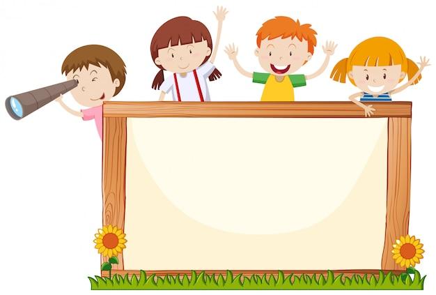 Cadre avec des enfants heureux et des fleurs Vecteur Premium