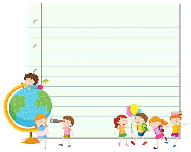 Cadre avec enfants heureux et globe Vecteur gratuit