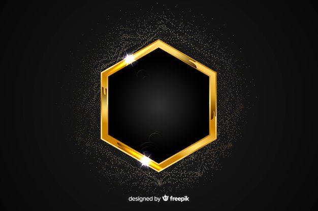 Cadre étincelant doré sur fond noir Vecteur gratuit