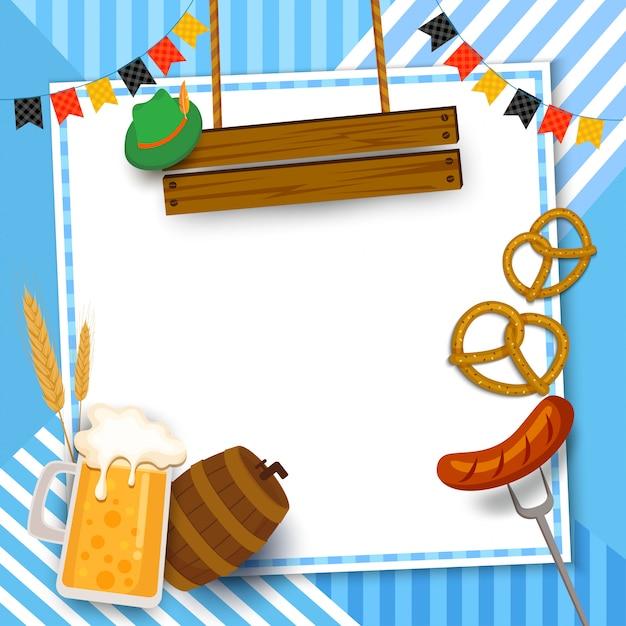 Cadre de festival oktoberfest avec boisson et nourriture sur fond bleu. Vecteur Premium
