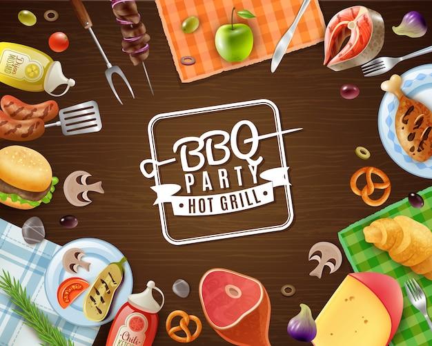 Cadre de fête barbecue Vecteur gratuit
