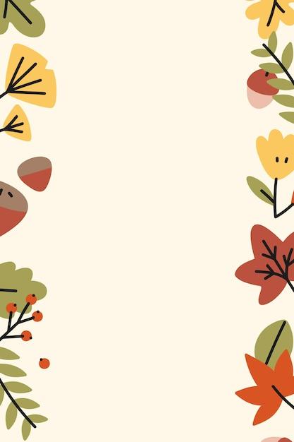 Cadre de feuilles d'automne coloré Vecteur gratuit