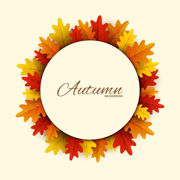 Cadre avec des feuilles d'automne rouges, orange et jaunes. Vecteur Premium