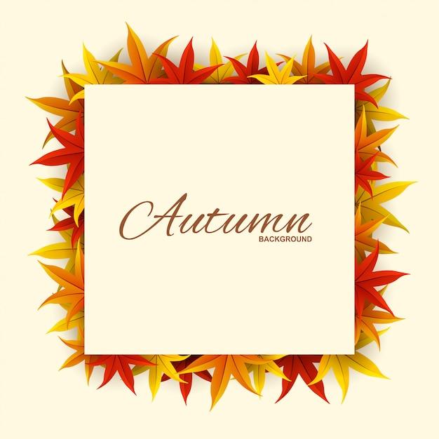 Cadre avec des feuilles d'automne rouges, orange et jaunes, Vecteur Premium