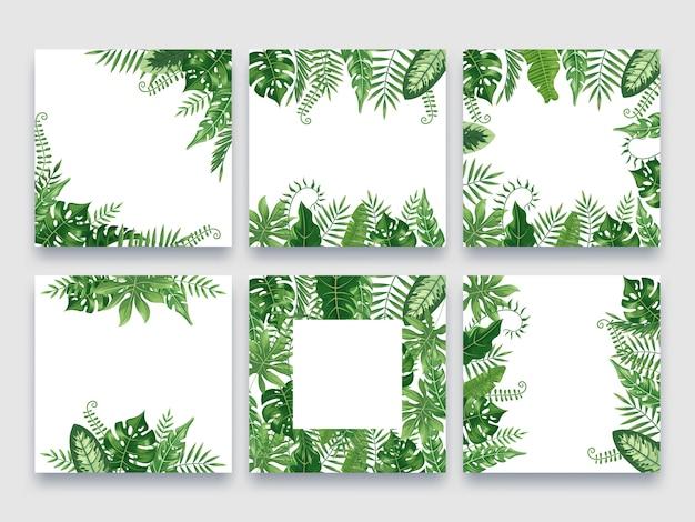 Cadre De Feuilles Exotiques. Bordure De Feuilles Tropicales, Cadres D'été Nature Et Jeu De Bordures De Feuilles De Palmier De Luxe Vecteur Premium