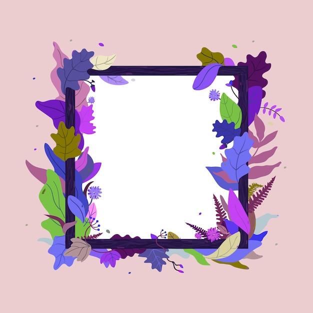 Cadre de feuilles et de fleurs pour la vente de messages publicitaires. carte de voeux floral. cadre photo en bois. Vecteur Premium
