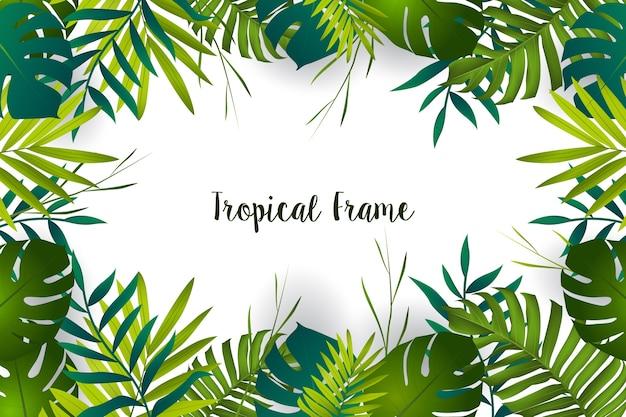 Cadre de feuilles tropicales Vecteur Premium