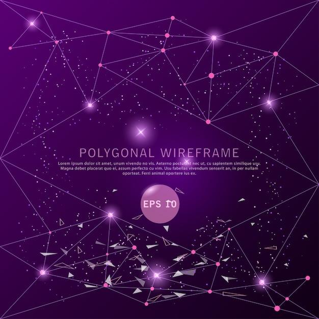 Cadre de fil futuriste abstrait fond violet. Vecteur Premium