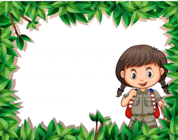 Cadre fille avec nature Vecteur gratuit