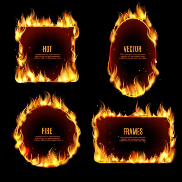 Cadre de flammes de feu chaud sur le fond noir Vecteur gratuit