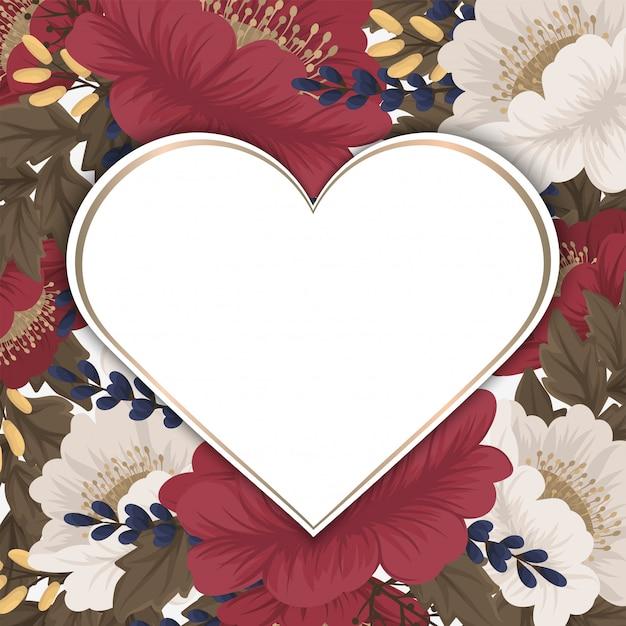 Cadre Fleur Amour Saint Valentin Vecteur gratuit