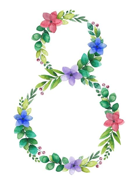 Cadre De Fleur Aquarelle Jour De La Femme De Mars, Guirlande En Forme De Numéro Huit Vecteur Premium