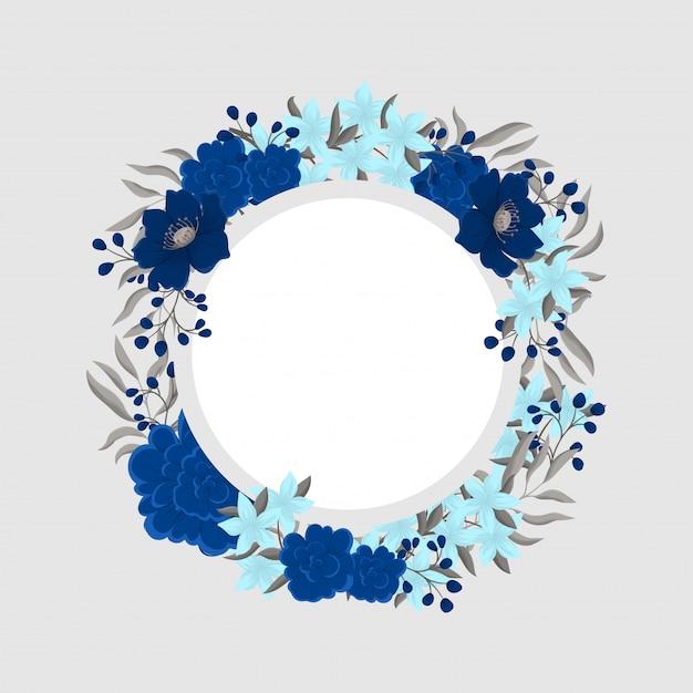 Cadre fleur bleue Vecteur gratuit