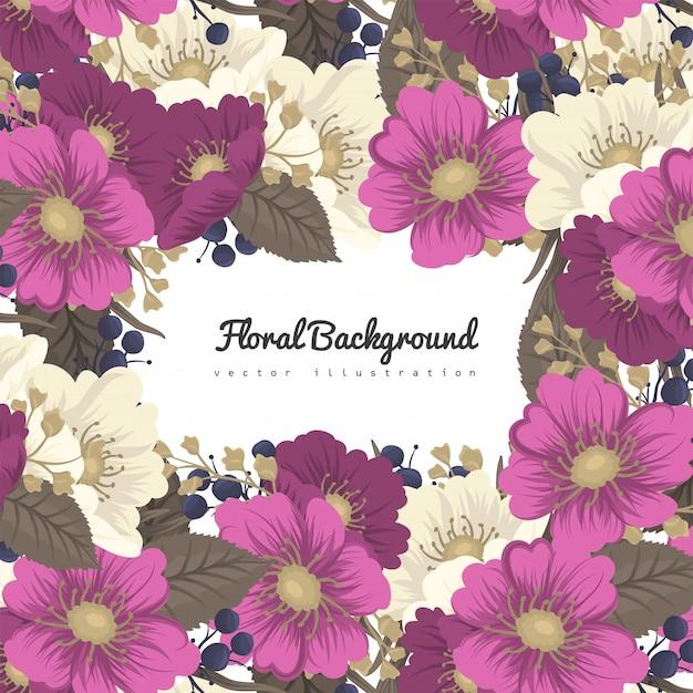 Cadre Fleur Dessin - Fleurs Rose Chaud Vecteur Premium