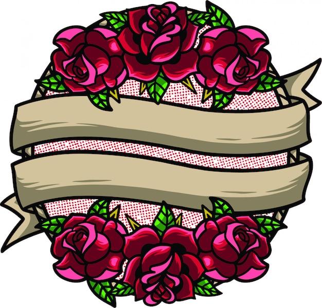 Cadre de fleur oldschool Vecteur Premium