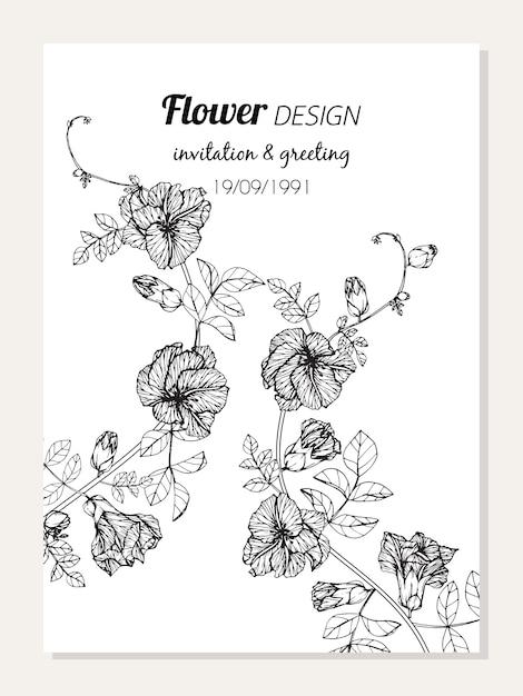 Cadre De Fleur De Papillon Pois Dessin Illustration Télécharger