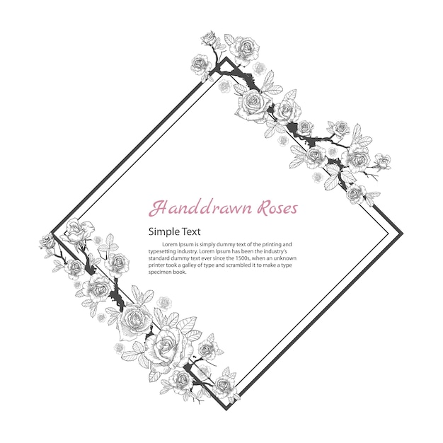 Cadre de fleur de rose dessin et croquis sur fond blanc t l charger des vecteurs premium - Fleur rose dessin ...