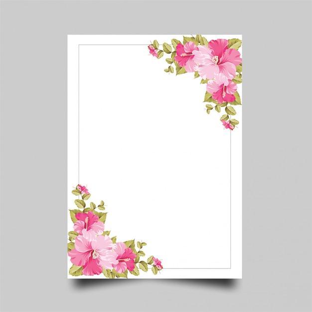 Cadre fleur rose Vecteur Premium
