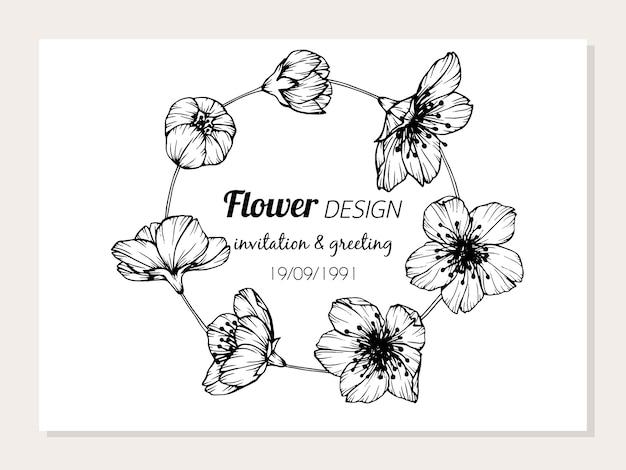 Cadre De Fleur De Sakura Dessin Illustration Telecharger Des