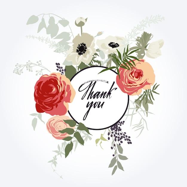 Vecteur Gratuite Cadre De Fleurs Carte De Remerciement