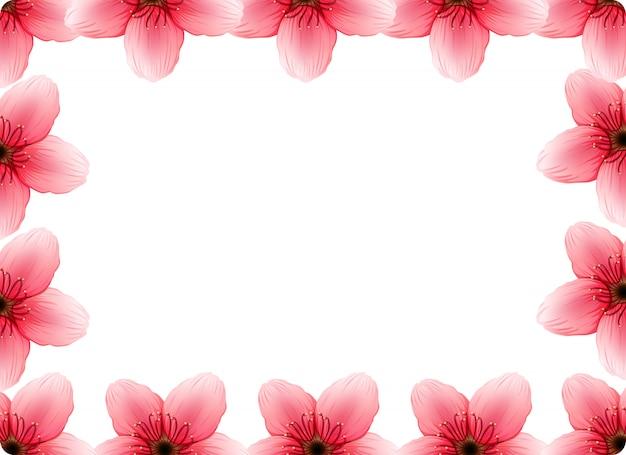 Un cadre de fleurs de cerisier Vecteur gratuit