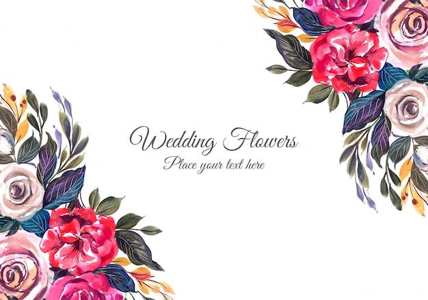 Cadre De Fleurs Colorées De Mariage Vecteur gratuit