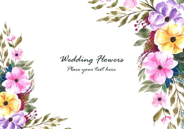 Cadre De Fleurs Décoratives De Mariage Vecteur gratuit
