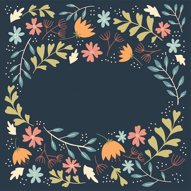 Cadre de fleurs folkloriques Vecteur Premium