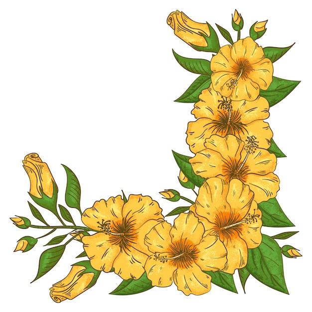 Cadre de fleurs d'hibiscus avec feuilles Vecteur Premium