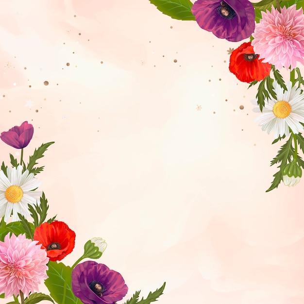Cadre de fleurs sauvages Vecteur gratuit