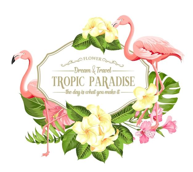 Cadre De Fleurs Tropicales Et Flamants Roses Sur Fond Blanc. Illustration Vectorielle. Vecteur gratuit