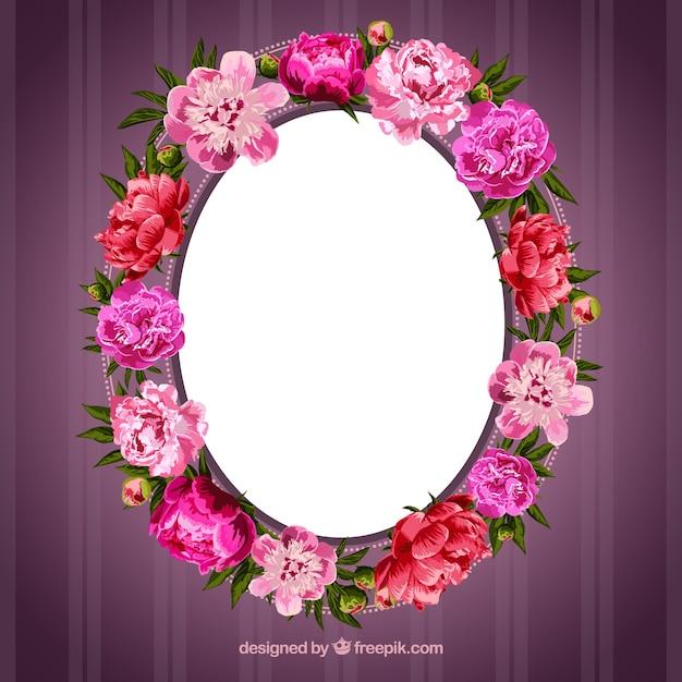 Cadre en fleurs Vecteur gratuit